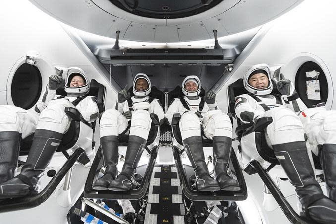 NASA's SpaceX Crew 1 astronauts (L-R): Shannon Walker, Victor Glover, Michael Hopkins and Japanese astronaut Soichi Noguchi. Hopkins, Walker and Noguchi are space flight veterans while Glover, an accomplished military test pilot, is making his first. / Credit: SpaceX