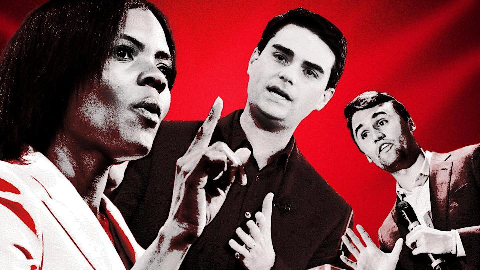 Candace Owens, Ben Shapiro and Charlie Kirk are some of the personalities who host PragerU videos. (Photo: Illustration: Damon Dahlen/HuffPost; Photos: Getty)