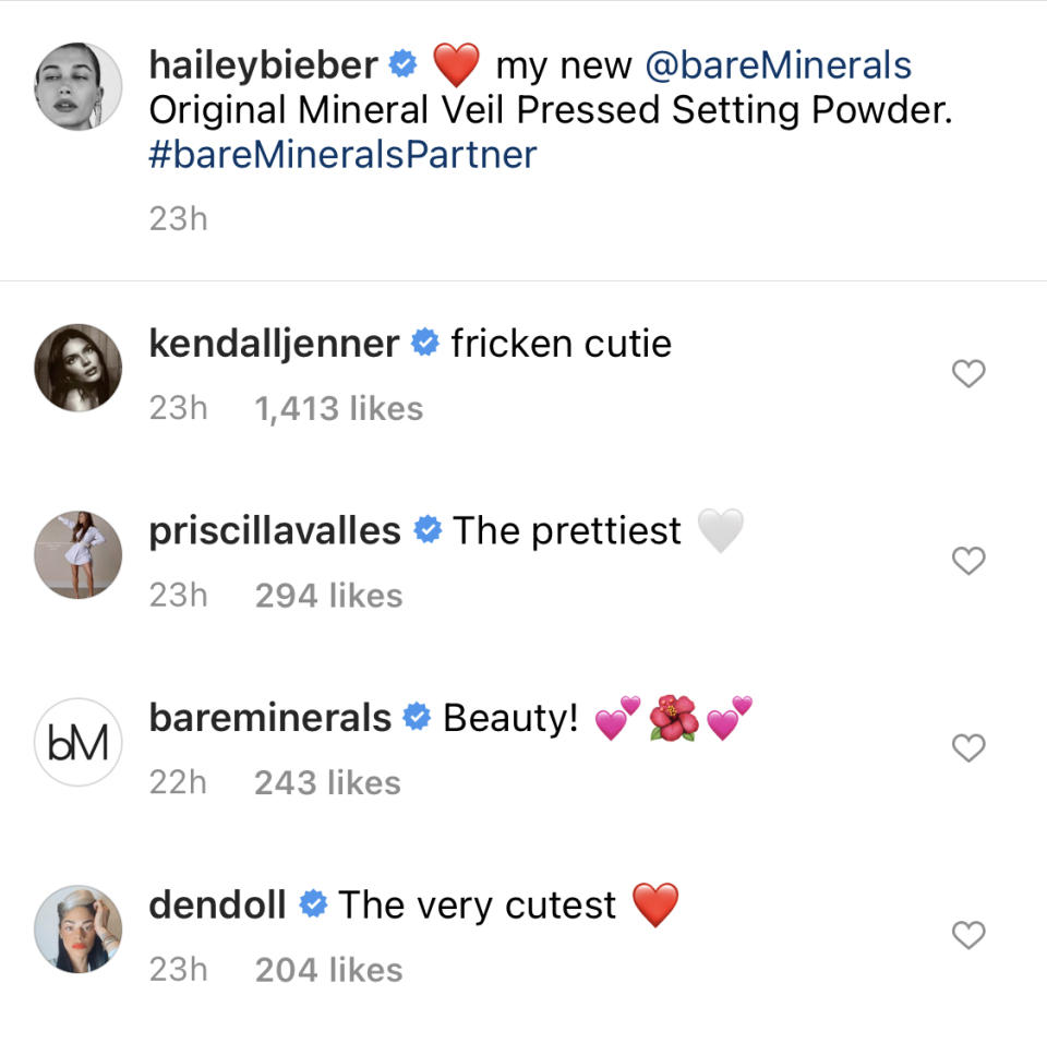 Stars like Kendall Jenner took to the comments to show some love. Image via Instagram/HaileyBieber.