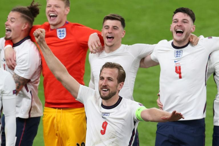 England's players partied at the final whistle after reaching the final of Euro 2020