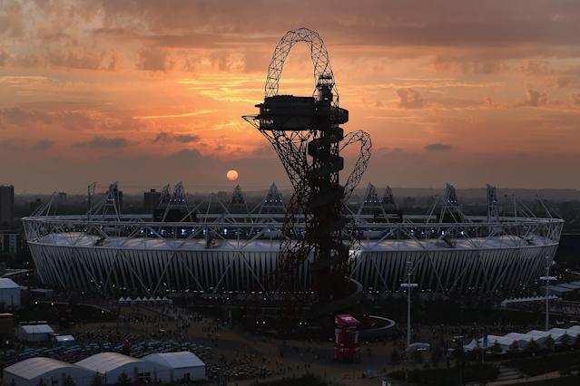 LONDON, ENGLAND - SEPTEMBER 09: The sun sets over the Olympic Park ahead of the the Closing Ceremony of the London 2012 Paralympic Games at Olympic Stadium on September 9, 2012 in London, England. (Photo by Dan Kitwood/Getty Images)