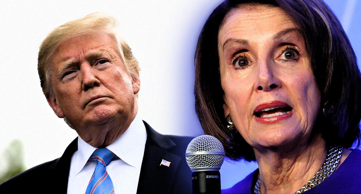 President Trump and House Speaker Nancy Pelosi. (Photo illustration: Yahoo News; photos: Andrew Harrer/Bloomberg via Getty Images, Kevin Lamarque/Reuters)