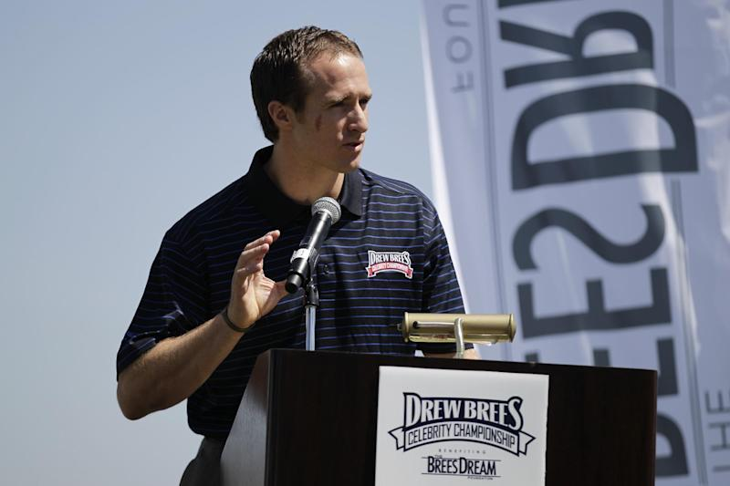 New Orleans Saints football quarterback Drew Brees speaks at a news conference for his charity golf tournament Tuesday, April 10, 2012, in Carlsbad, Calif. (AP Photo/Gregory Bull)