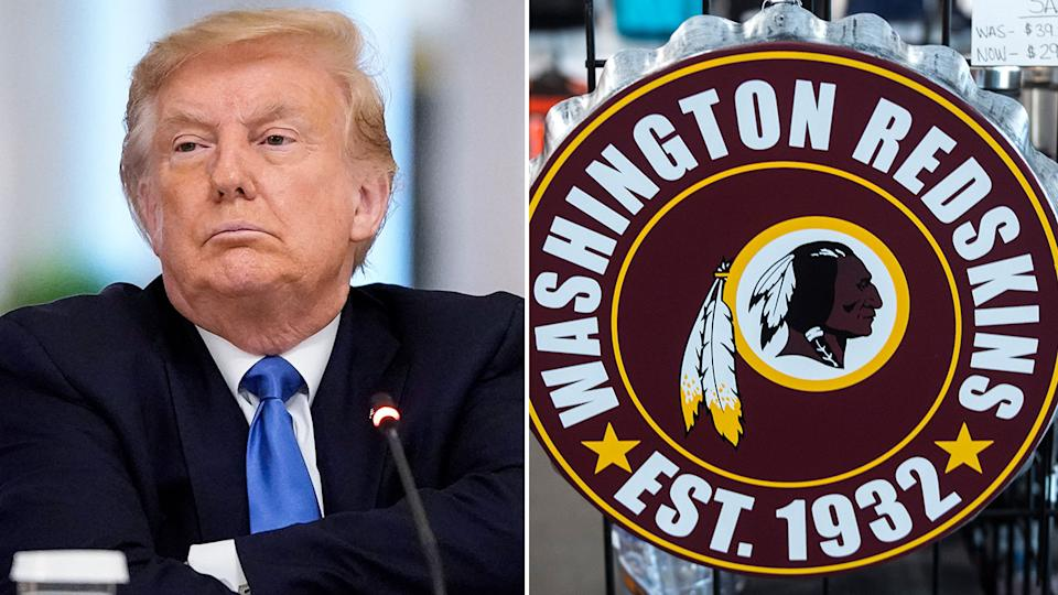 Pictured here, US President Donald Trump has been against he Redskins changing their name.