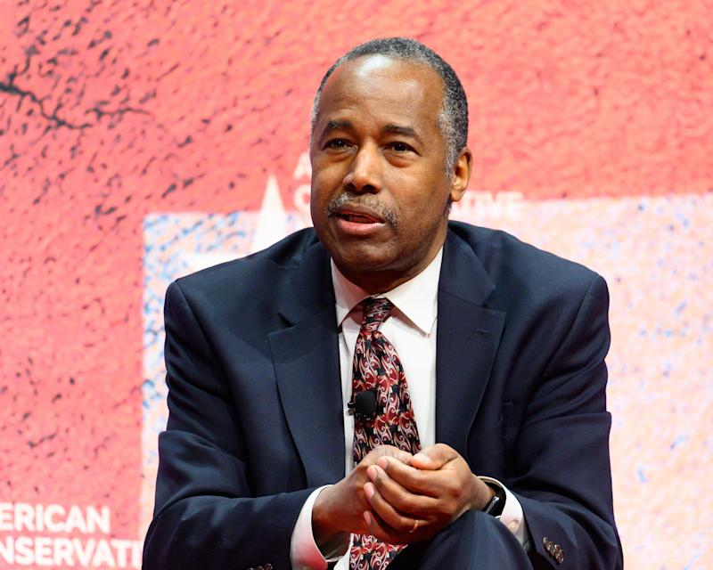 OXON HILL, MD, UNITED STATES - 2019/02/28: Ben Carson, United States Secretary of Housing and Urban Development, seen speaking during the American Conservative Union's Conservative Political Action Conference (CPAC) at the Gaylord National Resort & Convention Center in Oxon Hill, MD. (Photo by Michael Brochstein/SOPA Images/LightRocket via Getty Images)