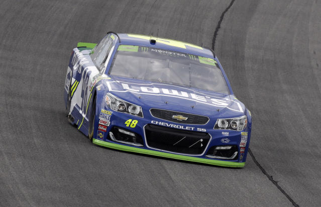 "<a class=""link rapid-noclick-resp"" href=""/nascar/sprint/drivers/213/"" data-ylk=""slk:Jimmie Johnson"">Jimmie Johnson</a> (48) drives during a NASCAR Cup Monster Energy Series auto race at Chicagoland Speedway in Joliet, Ill., Sunday, Sept. 17, 2017. (AP Photo/Nam Y. Huh)"