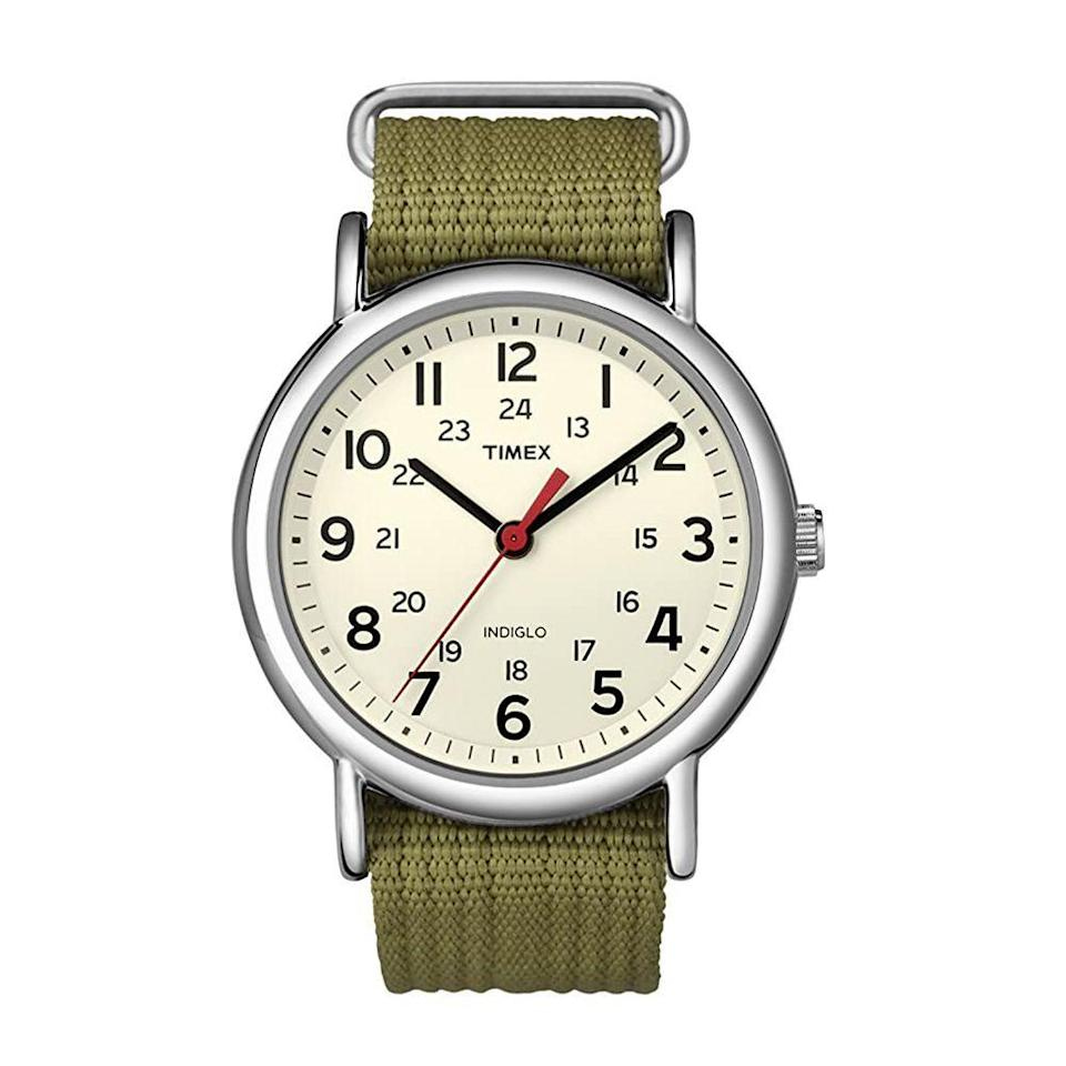 """<p><strong>Timex</strong></p><p>amazon.com</p><p><strong>$39.69</strong></p><p><a href=""""https://www.amazon.com/dp/B004VR9HP2?tag=syn-yahoo-20&ascsubtag=%5Bartid%7C2139.g.36673991%5Bsrc%7Cyahoo-us"""" rel=""""nofollow noopener"""" target=""""_blank"""" data-ylk=""""slk:BUY IT HERE"""" class=""""link rapid-noclick-resp"""">BUY IT HERE</a></p><p>Bring a pop of color to your wrist game with this olive green watch. The nylon strap is adjustable and designed to fit up to an eight-inch wrist circumference. That's not the only thoughtful feature: The watch also includes 24-hour military time, should you ever need the conversion. </p>"""