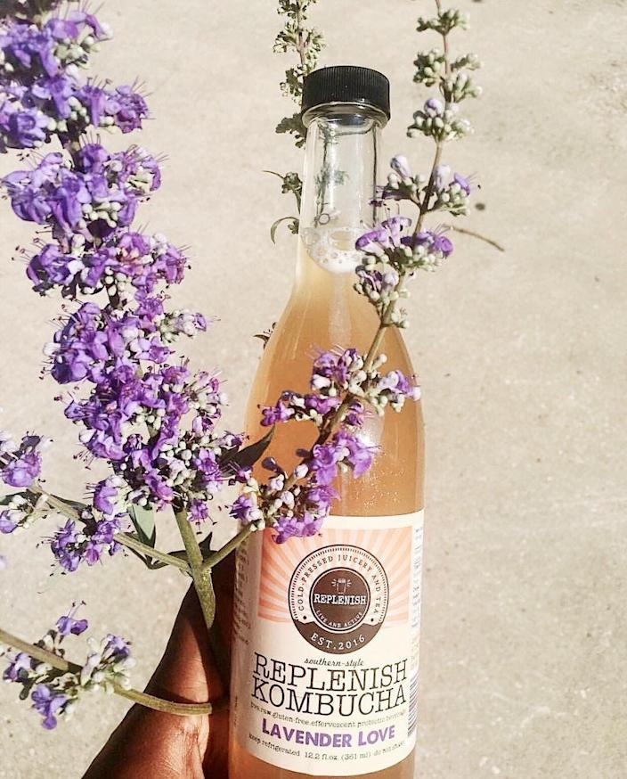 """<p><strong>Replenish Kombucha</strong></p><p>skimresources.com</p><p><strong>$3.00</strong></p><p><a href=""""https://go.skimresources.com?id=74968X1525073&xs=1&url=https%3A%2F%2Freplenish-kombucha.square.site%2Fproduct%2Flavender-love-16-oz-bottle%2F5%3Fcs%3Dtrue"""" rel=""""nofollow noopener"""" target=""""_blank"""" data-ylk=""""slk:BUY NOW"""" class=""""link rapid-noclick-resp"""">BUY NOW</a></p><p>This Black-owned kombucha dispensary created by Angel Jackson is one of the few kombucha dispensaries in the south. They've got delicious flavors (like Lavender Love and <a href=""""https://replenish-kombucha.square.site/product/sweet-ginger-16-oz-glass-bottle/9?cs=true"""" rel=""""nofollow noopener"""" target=""""_blank"""" data-ylk=""""slk:Sweet Ginger"""" class=""""link rapid-noclick-resp"""">Sweet Ginger</a>), gorgeous labels, and high-quality products.</p>"""