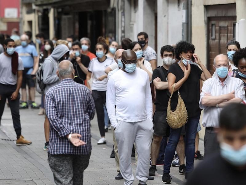People queue up to be tested for coronavirus in Ordizia, Basque Country, Spain, on 6 July, 2020: Javi Colmenero/Europa Press via Getty Images