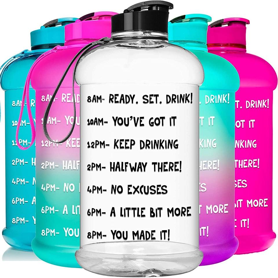 <p>The <span>Hydromate Half Gallon 64 oz Motivational Water Bottle</span> ($24) not only encourages you to drink water, but it has a lidded spout that's perfect for sipping.</p>
