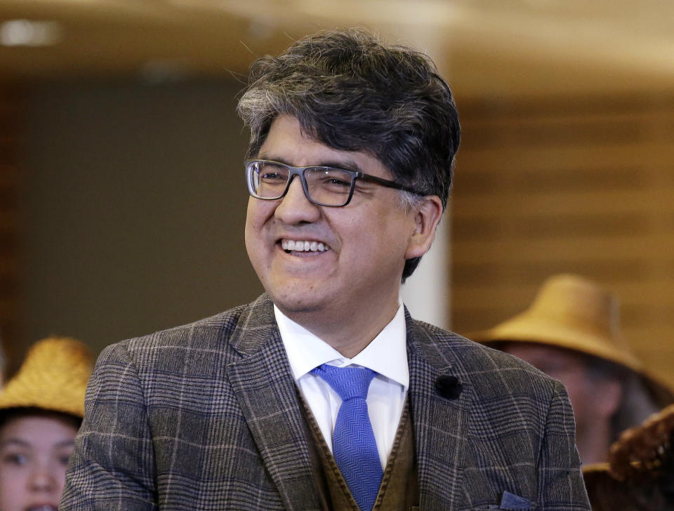 "FILE - In this Oct. 10, 2016 file photo, author and filmmaker Sherman Alexie appears at a celebration of Indigenous Peoples' Day at Seattle's City Hall. Alexie is included in a list of authors who wrote books that were among the 100 most subjected to censorship efforts over the past decade, as compiled by the American Library Association. Alexie's prize-winning ""The Absolutely True Diary of a Part-Time Indian"" came in at No. 1. (AP Photo/Elaine Thompson, File)"