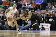 <p>Wichita State forward Rashard Kelly (0) dives to stop the steal of Dayton guard Kyle Davis (3) during the first half of a first-round game in the men's NCAA college basketball tournament in Indianapolis, Friday, March 17, 2017. (AP Photo/Michael Conroy) </p>