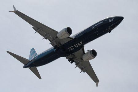 A Boeing 737 Max takes part in a flying display during the 52nd Paris Air Show at Le Bourget Airport near Paris