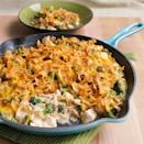 <p>We trimmed 9 grams of fat and almost 100 calories in this makeover of cheesy chicken-and-broccoli casserole. All the raw ingredients are layered in a skillet, then simmered for a quick weeknight dinner.</p>