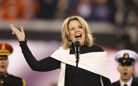 Soprano Renee Fleming sings the U.S. National Anthem prior to the NFL Super Bowl XLVIII football game between the Denver Broncos and the Seattle Seahawks in East Rutherford