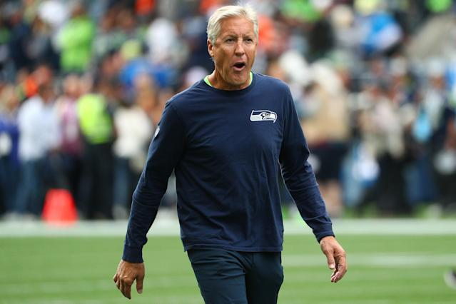 Pete Carroll needed some medical attention before the Seahawks took on the Saints. (Photo by Abbie Parr/Getty Images)