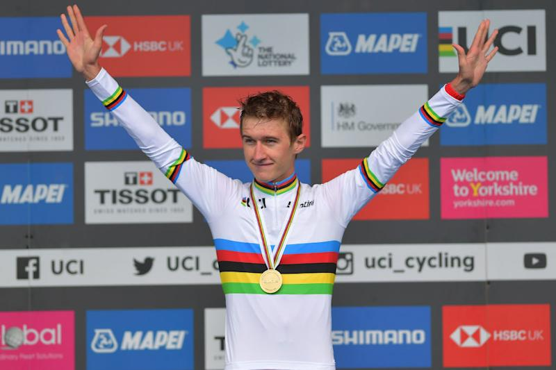 HARROGATE ENGLAND SEPTEMBER 24 Podium Mikkel Bjerg of Denmark Gold Medal Celebration during the 92nd UCI Road World Championships 2019 Men U23 Individual Time Trial a 32km Individual Time Trial race from Ripon to Harrogate ITT Yorkshire2019 Yorkshire2019 on September 24 2019 in Harrogate England Photo by Justin SetterfieldGetty Images