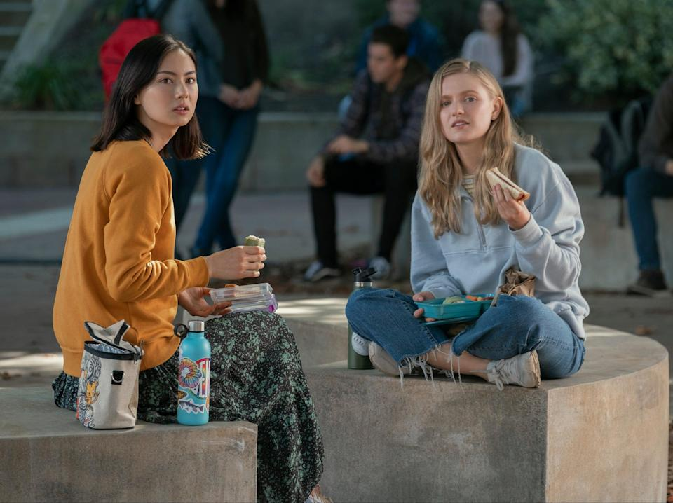 Vivian (Hadley Robinson) learns from her best friend Claudia (Lauren Tsai) that her ideas of rebellion are shaped by the relative privilege she's affordedColleen Hayes/NETFLIX © 2020