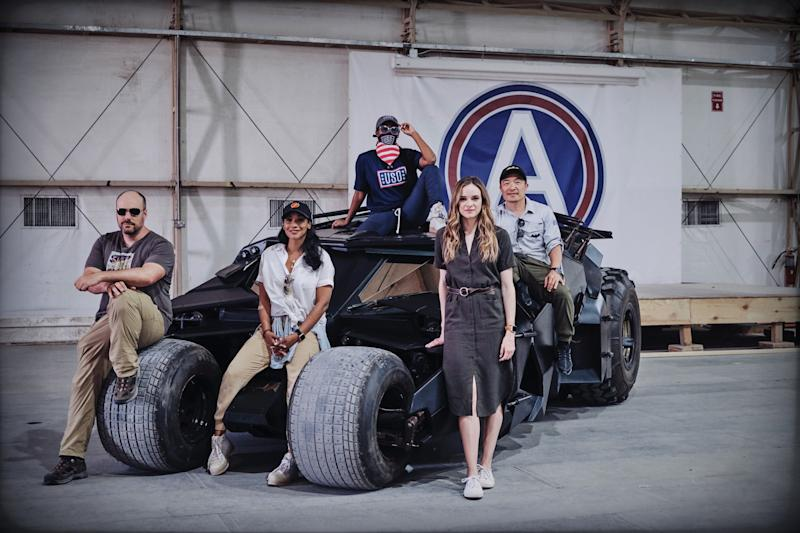 King, Candice Patton, Nafessa Williams, Danielle Panabaker and Lee in front of Batman's Tumbler ride (Photo: Waleed Shah/DC Entertainment)