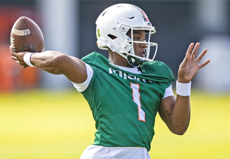 Miami Hurricanes quarterback D'Eriq King is still trying to prove he can play that position in the NFL. (Al Diaz/Miami Herald/Tribune News Service via Getty Images)