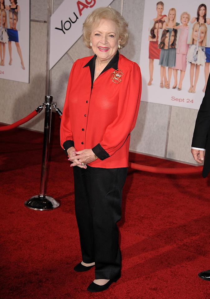 """<a href=""""http://movies.yahoo.com/movie/contributor/1800022900"""">Betty White</a> attends the Los Angeles premiere of <a href=""""http://movies.yahoo.com/movie/1810111331/info"""">You Again</a> on September 22, 2010."""