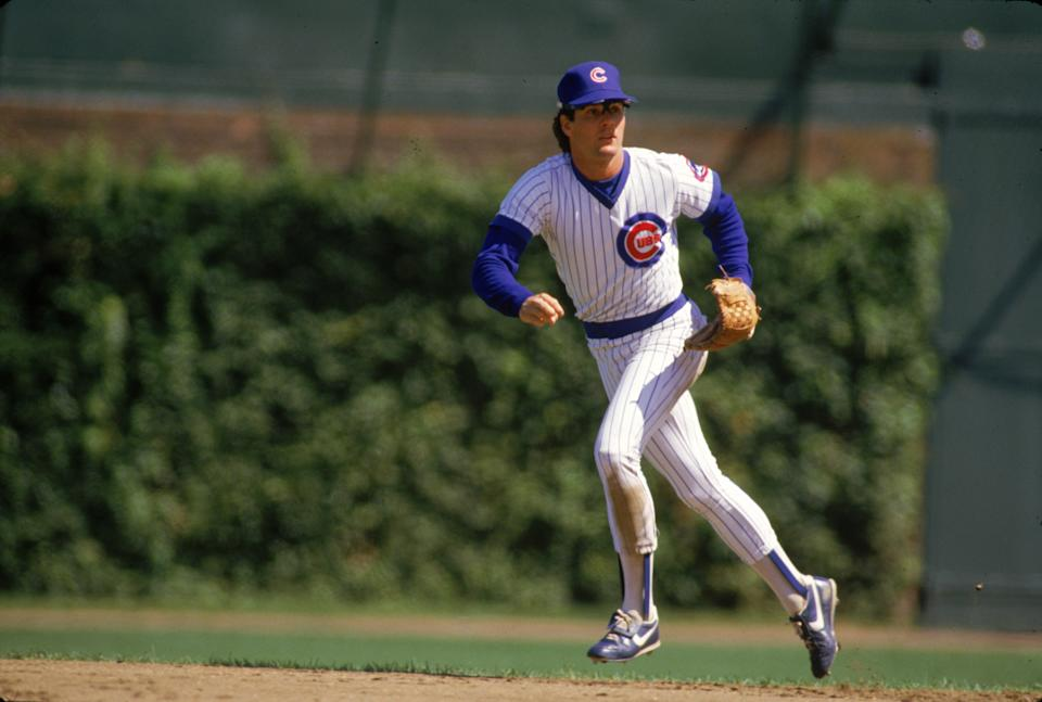 CHICAGO:  Ryne Sandberg of the Chicago Cubs bats during an MLB game at Wrigley Field in Chicago, Illinois.  Ryne Sandberg played for the Chicago Cubs from 1982-1997. (Photo by Ron Vesely/MLB Photos via Getty Images)