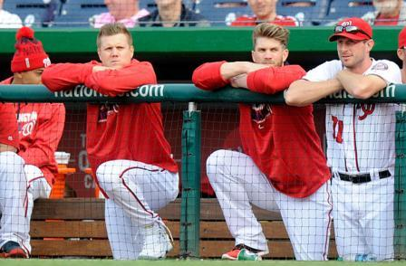 Jonathan Papelbon (left) had a rocky relationship with Bryce Harper (right) during his brief time in Washington. (Getty Images)