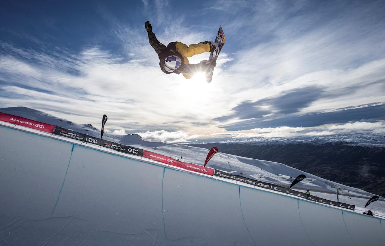 Tim-Kevin Ravnjak from Slovenia competes in the Men's Snowboard Halfpipe Final at Cardrona Alpine Resort during the Winter Games NZ near Queenstown, New Zealand, September 8, 2017. Iain McGregor-Winter Games NZ/Handout via REUTERS ATTENTION EDITORS - THIS IMAGE WAS PROVIDED BY A THIRD PARTY. NO RESALES. NO ARCHIVES.