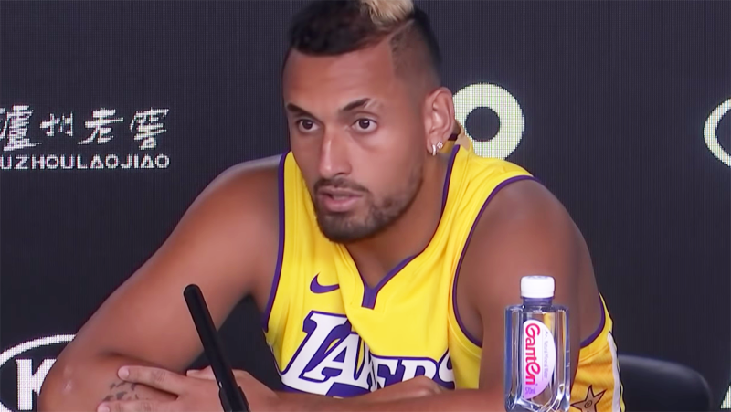 Nick Kyrgios, pictured here talking to the media after his win at the Australian Open.
