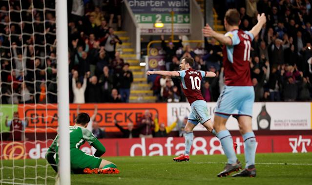 "Soccer Football - Premier League - Burnley vs Chelsea - Turf Moor, Burnley, Britain - April 19, 2018 Burnley's Ashley Barnes celebrates scoring their first goal Action Images via Reuters/Andrew Boyers EDITORIAL USE ONLY. No use with unauthorized audio, video, data, fixture lists, club/league logos or ""live"" services. Online in-match use limited to 75 images, no video emulation. No use in betting, games or single club/league/player publications. Please contact your account representative for further details."