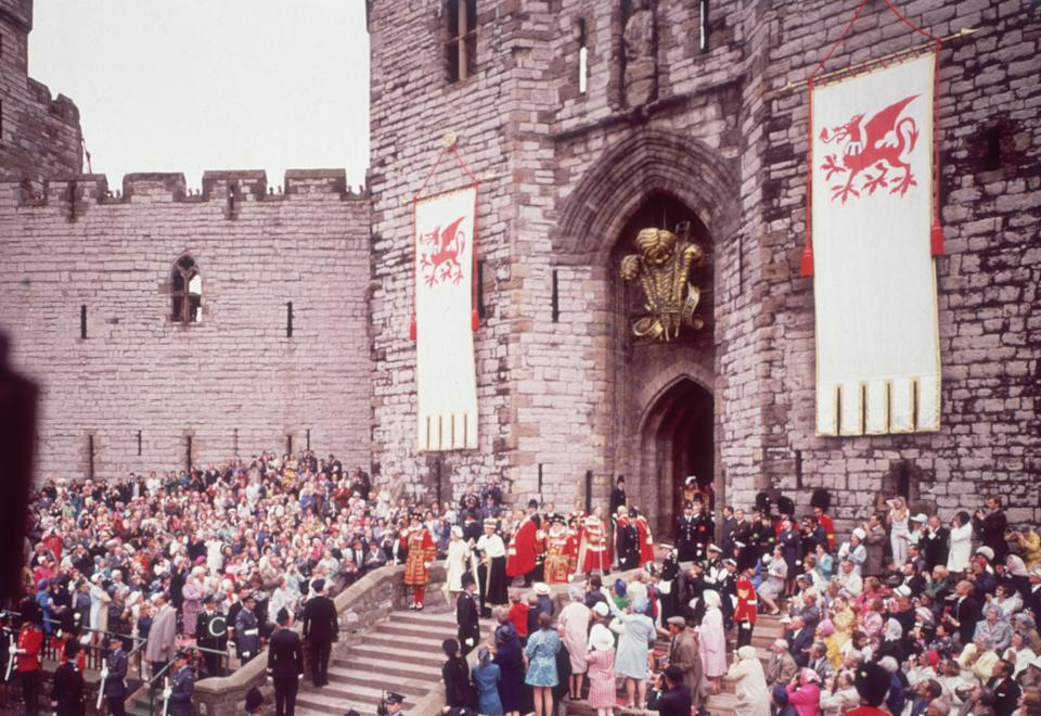 1st July 1969:  The investiture of Charles, Prince of Wales, at Caernarvon Castle.  (Photo by Hulton Archive/Getty Images)