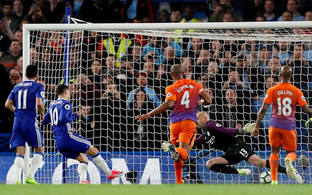 Eden Hazard missed a penalty but scored the rebound to put Chelsea ahead - Copyright 2017 The Associated Press. All rights reserved.