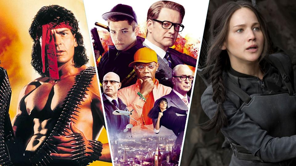 Hot Shots! Part Deux, Kingsman: The Secret Service, The Hunger Games: Mockingjay Part 1.