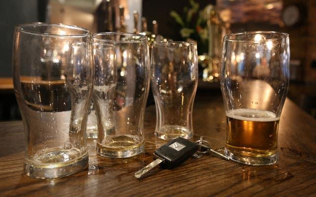 Beer glasses in a pub (Philip Toscano/PA)