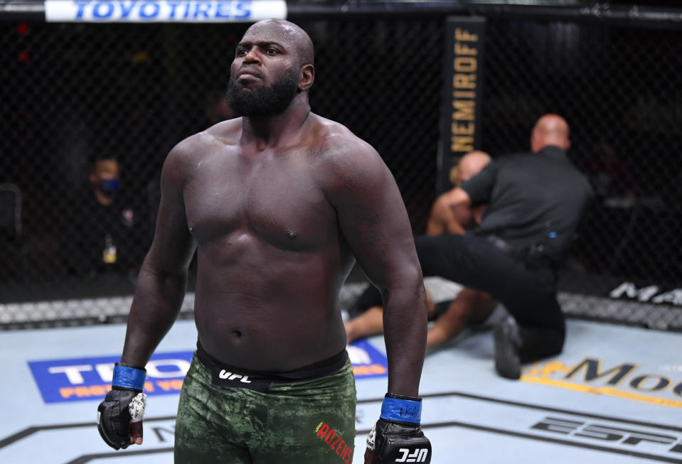 LAS VEGAS, NEVADA - AUGUST 15: Jairzinho Rozenstruik of Suriname reacts after his knockout victory over Junior Dos Santos of Brazil in their heavyweight bout during the UFC 252 event at UFC APEX on August 15, 2020 in Las Vegas, Nevada. (Photo by Jeff Bottari/Zuffa LLC)