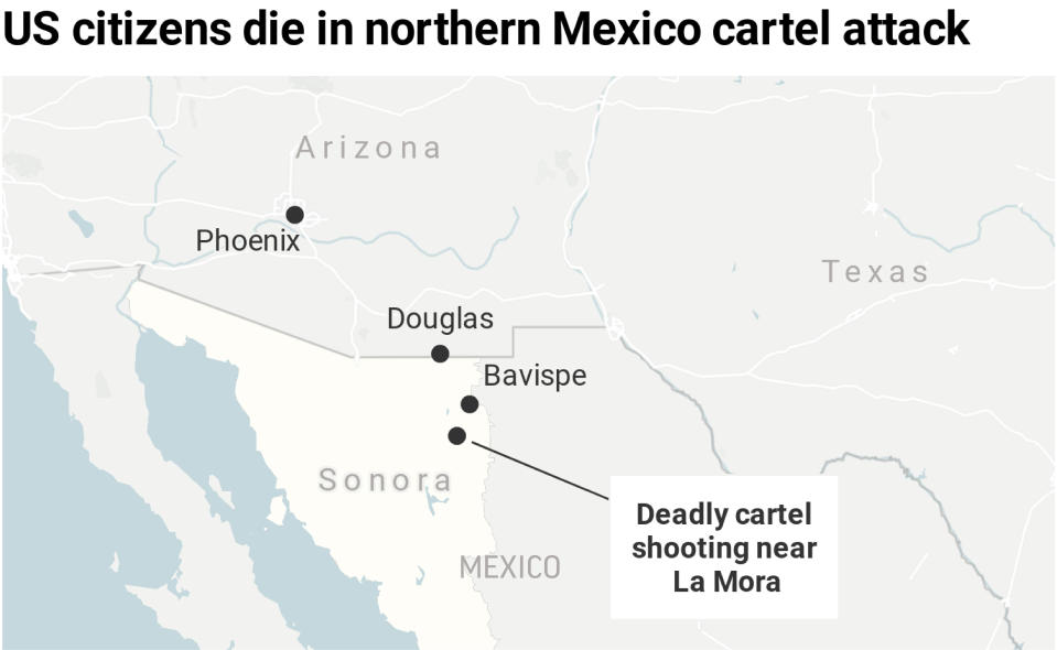 Map locates the site of the cartel killings of at least nine US citizens in the Mexican state of Sonora.;
