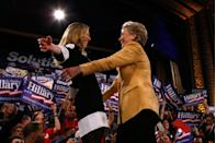 <p>Democratic presidential hopeful Senator Hillary Clinton and daughter, Chelsea Clinton, embrace during a Super Tuesday primary campaign rally in the Grand Ballroom of the Manhattan Center in February.</p>