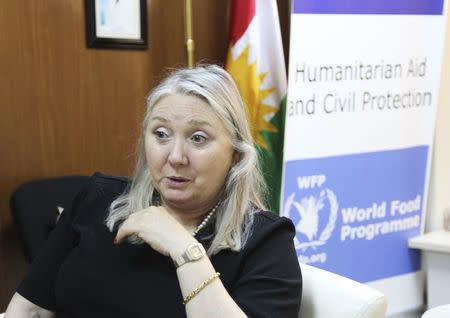 United Nations World Food Programme country director in Iraq Jane Pearce speaks during an interview at the United Nations office in Erbil Iraq