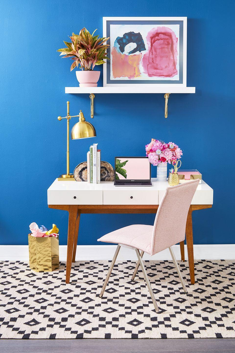 <p>Modernize your office space by incorporating an assortment of gold, silver, and rose gold accent pieces (think: lamps, trash bins, and plant misters). </p>