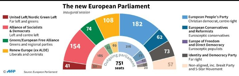 Official number of seats per group in the incoming European Parliament (AFP Photo/Paz PIZARRO)