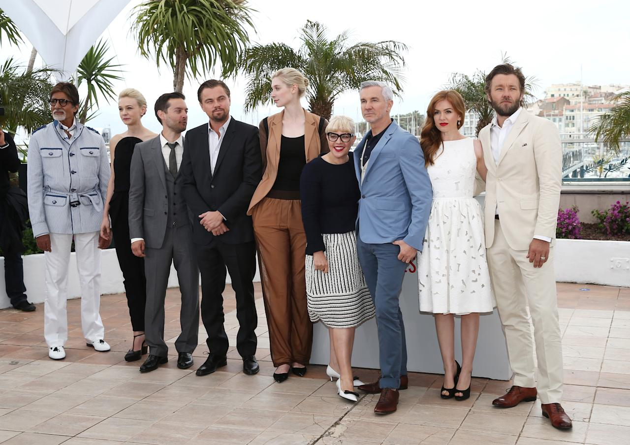 CANNES, FRANCE - MAY 15:  (L-R) Amitabh Bachchan, Carey Mulligan, Tobey Maguire, Leonardo DiCaprio, Elizabeth Debicki, Catherine Martin, Baz Luhrmann, Isla Fisher and Joel Egerton attend 'The Great Gatsby' photocall during the 66th Annual Cannes Film Festival at the Palais des Festivals on May 15, 2013 in Cannes, France.  (Photo by Andreas Rentz/Getty Images)