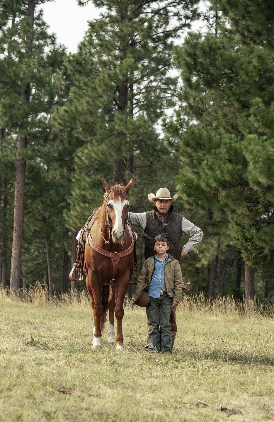 """<p>Young Merrill plays Kayce and Monica's son. This has been the adorable actor's first breakout role, but he's handling it like a pro. """"I've worked with kids in the past that are tough, it's hard to keep them on track or keep them focused, and he's actually really good,"""" <a href=""""https://www.youtube.com/watch?v=1-IYjIOMY3g&t=75s"""" rel=""""nofollow noopener"""" target=""""_blank"""" data-ylk=""""slk:Grimes said"""" class=""""link rapid-noclick-resp"""">Grimes said</a>.</p>"""