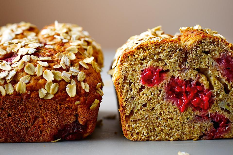 """Want to punch up your banana bread? Fold in some <a href=""""https://www.epicurious.com/recipes-menus/really-rad-raspberries-gallery?mbid=synd_yahoo_rss"""" rel=""""nofollow noopener"""" target=""""_blank"""" data-ylk=""""slk:raspberries"""" class=""""link rapid-noclick-resp"""">raspberries</a>. They give the loaf with a welcome splash of color and the berry flavor tastes wonderful with the banana. <a href=""""https://www.epicurious.com/recipes/food/views/raspberry-and-banana-no-knead-breakfast-loaf?mbid=synd_yahoo_rss"""" rel=""""nofollow noopener"""" target=""""_blank"""" data-ylk=""""slk:See recipe."""" class=""""link rapid-noclick-resp"""">See recipe.</a>"""