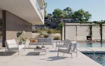 """<p>Matthew Hilton's 'Eos' outdoor range for Case Furniture now includes a sofa and lounge chair – the brand's first upholstered garden pieces. Their slim, rust-proof aluminium frames can be powder-coated in black or white, with cushions covered in fabrics by Sunbrella. Sofas, from £1,260, <a href=""""https://casefurniture.com/contemporary-furniture-products/eos-2-seater-sofa/"""" rel=""""nofollow noopener"""" target=""""_blank"""" data-ylk=""""slk:Case Furniture"""" class=""""link rapid-noclick-resp"""">Case Furniture</a> </p>"""