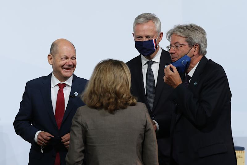 BERLIN, GERMANY - SEPTEMBER 11: (L-R) German Minister of Finance Olaf Scholz, Finance Minister of Spain Nadia Calvino, European Commissioner for Economy Paolo Gentiloni and Finance Minister of France Bruno Le Maire during a family photo session at an informal meeting of European Union ministers for economic and financial affairs on September 11, 2020 in Berlin, Germany. The meeting is taking place under the current German presidency of the European Council. (Photo by Hayoung Jeon - Pool/Getty Images) (Photo: Pool via Getty Images)