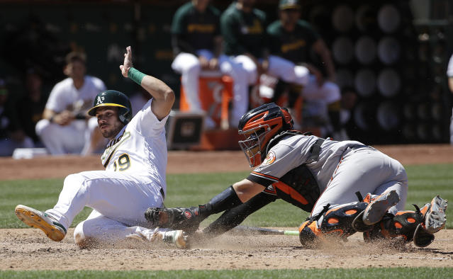 Oakland Athletics' Josh Phegley, left, slides past Baltimore Orioles catcher Chance Sisco to score during the seventh inning of a baseball game in Oakland, Calif., Wednesday, June 19, 2019. (AP Photo/Jeff Chiu)