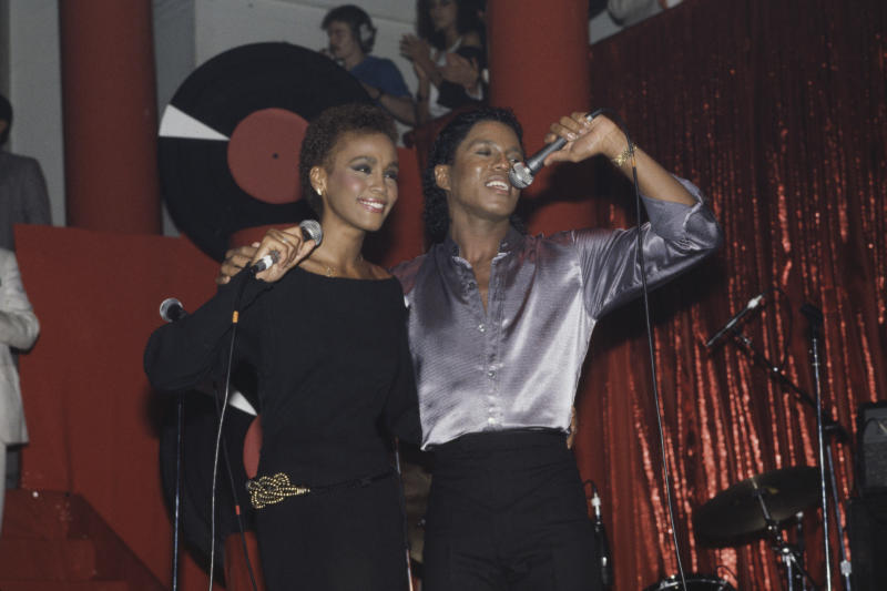 American singer Whitney Houston (1963-2012) performing with Jermaine Jackson at the Limelight in New York City, in July of 1984. (Photo: Dave Hogan/Getty Images)