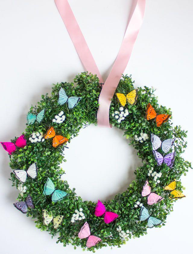 """<p>Don't adjust your screens—there really is <em>that</em> much fabulous color bursting out of this wreath! It's sure to give your Easter guests a bright, memorable welcome.</p><p><strong>Get the tutorial at <a href=""""http://www.designimprovised.com/2017/05/diy-spring-butterfly-wreath.html"""" rel=""""nofollow noopener"""" target=""""_blank"""" data-ylk=""""slk:Design Improvised"""" class=""""link rapid-noclick-resp"""">Design Improvised</a>.</strong></p><p><strong><a class=""""link rapid-noclick-resp"""" href=""""https://www.amazon.com/Chenkou-Craft-Butterfly-Ornament-Appliques/dp/B07L7BSPQB?tag=syn-yahoo-20&ascsubtag=%5Bartid%7C10050.g.4088%5Bsrc%7Cyahoo-us"""" rel=""""nofollow noopener"""" target=""""_blank"""" data-ylk=""""slk:SHOP FAUX BUTTERFLIES"""">SHOP FAUX BUTTERFLIES</a></strong></p>"""