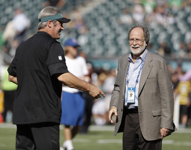 In this Sept. 25, 2016, photo, Howard Katz, right, and Philadelphia Eagles head coach Doug Pederson are seen during an NFL football game against the Pittsburgh Steelers, in Philadelphia. Katz has the most unenviable task in the National Football League. As the leagues senior vice president of broadcasting and media operations, he is the point person for formulating the schedule and trying to make the executives of the leagues four broadcast partners happy. Before the public got their first look at the upcoming regular-season schedule on Wednesday, April 17, 2019, Katz relayed to Fox, CBS, NBC and ESPN what games they received. (AP Photo/Michael Perez)