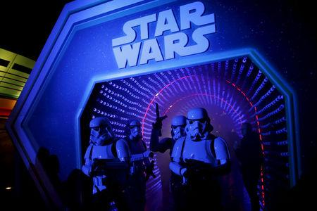 """Characters of Star Wars take part in an event held for the release of the film """"Star Wars: The Force Awakens"""" in Disneyland Paris"""